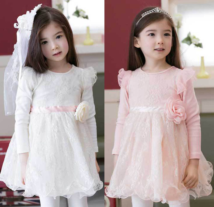2017 Spring Winter Baby Flower Girls Lace Wedding Evening Party Dresses Children Princess Tutu Dress Kids Casual Clothes 2016 spring winter children baby kids girls stripe princess lace mesh dress girls fall sleeveless dresses kids dresses for girls