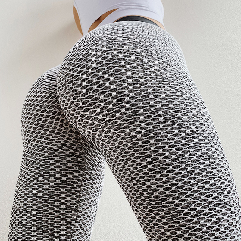 CHRLEISURE Knitting Peach Hip Women's Fitness Leggings Sexy Mesh Casual High Waist Leggings Stitching Fashion Push Up Legins