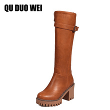 QUDUOWEI 2018 Women's Knee High Boots Shoes Pu Leather Square High Heel Riding Boots For Women Autumn Winter Warm Booties Shoes