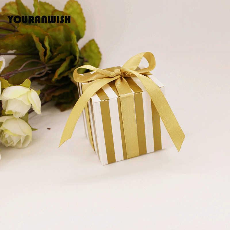 50 шт/партия Золотой Серебряный полосатый свадебный сувенир Конфета коробки, коробка шоколада шоу сувенирная Подарочная коробка для предродовой вечеринки Подарки конфеты