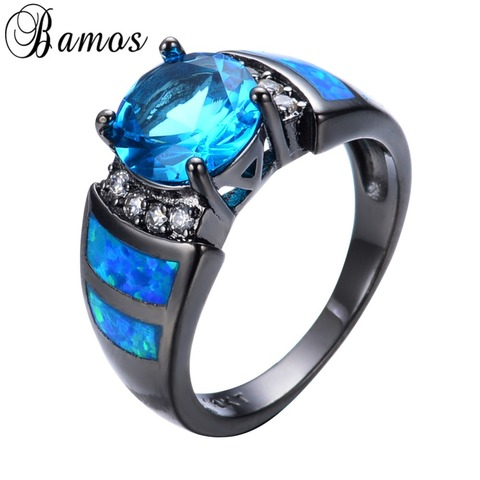Bamos Unique Blue Fire Opal Rings For Women Men Black Gold Filled Wedding Party Light Blue Zircon Ring Best Friend Gift RB0272 Pakistan