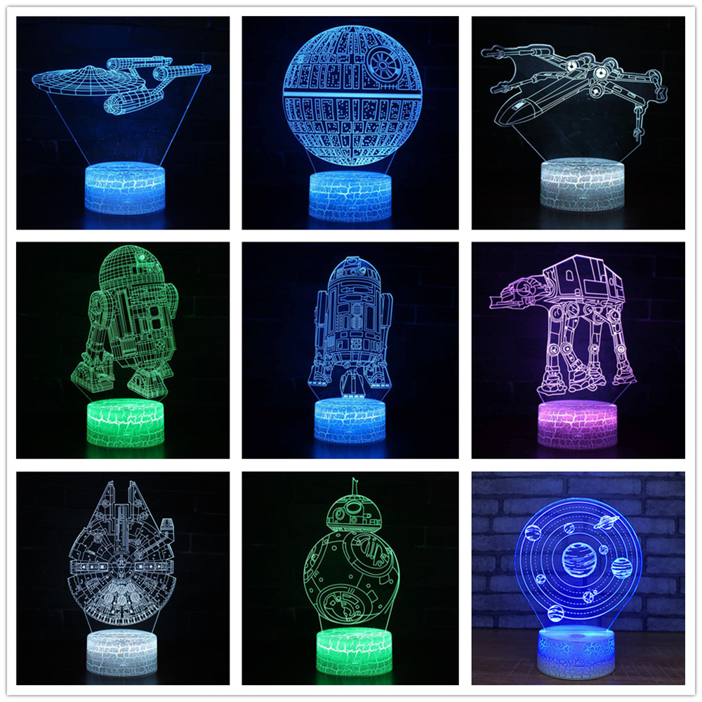 Kinglight Star Wars Master Yoda Darth Vader R2D2 Death BB8 Trek Millennium X Fighter 7 Color Change 3D Optical Night Light Lamp