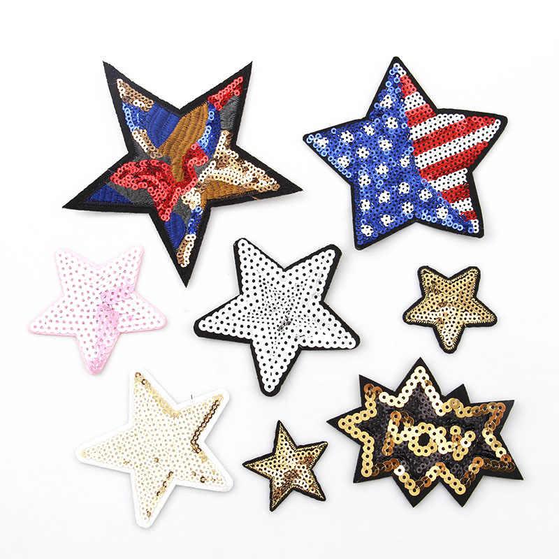 72c439ac9398d 1 шт. красочные звезда патч ткань вышитые аппликации пришить патчи Одежда  блестки джинсы одежды платье