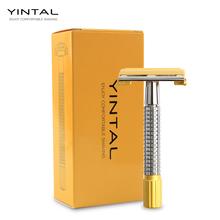 Men Shaver Kit Safety Razor Double Edge Razors Copper Handle Sand Gold Process With Package Plating