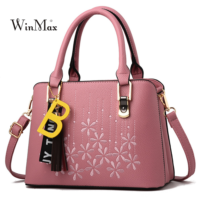Embroidery Ladies Bag Women Leather Handbags Tassel Shoulder Bags Female Hand Bag Messenger Bags for Women 2018 Bolsas Feminina