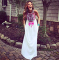 Estilo blanco vestidos de Las Mujeres Del Verano 2015 Vestido Maxi Vestidos de Las Mujeres Del O-cuello Ocasional de Costura de Impresión de Gasa Vestido Largo