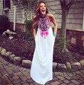 White vestidos Women Summer Style 2015 Maxi Dress Women Dresses Casual O-Neck Printing Stitching Chiffon Long Dress