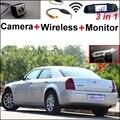 3 in1 Câmera Sem Fio + Receptor + Monitor Espelho Especial FÁCIL DIY Bcakup Sistema de Estacionamento Para Chrysler 300C 300 2005 ~ 2010