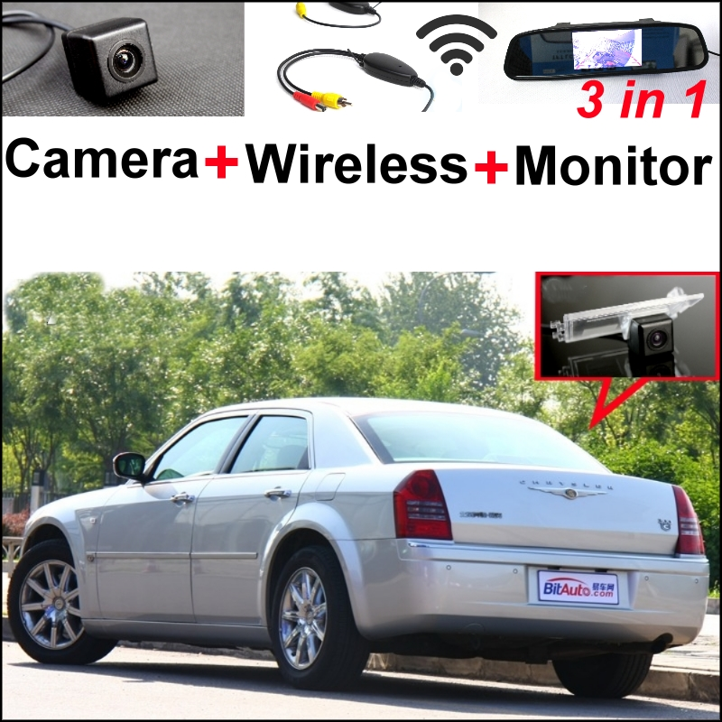 3 in1 Special Camera + Wireless Receiver + Mirror Monitor EASY DIY Bcakup Parking System For Chrysler 300 300C 2005~2010 wireless pager system 433 92mhz wireless restaurant table buzzer with monitor and watch receiver 3 display 42 call button