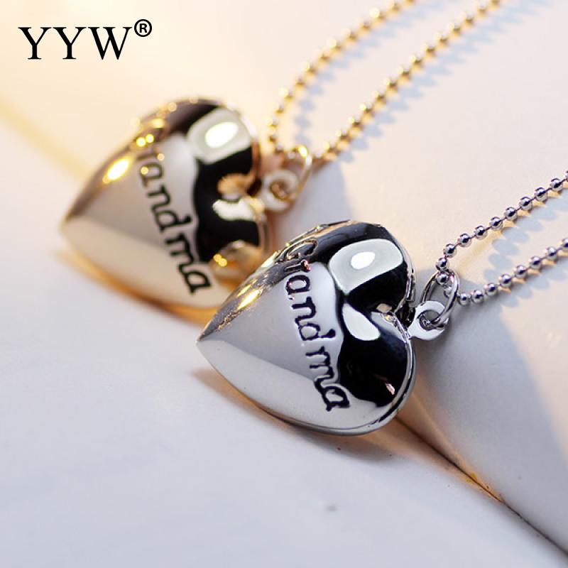 New Punk Fashion Photo Locket Charm Pendant Necklace Heart Word Grandma Love Locket Necklace Zinc Alloy Memory Jewelry Necklace