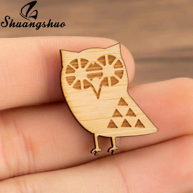 Shuangshuo Cute Animal Owl Wooden Brooches Pins For Women Clothing Lapel Pin Accessories Chic Jewelry Collar Sweater Clips Pin