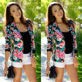 New Women Long Sleeve One Button Printed Color  Casual Jacket Suit Coat