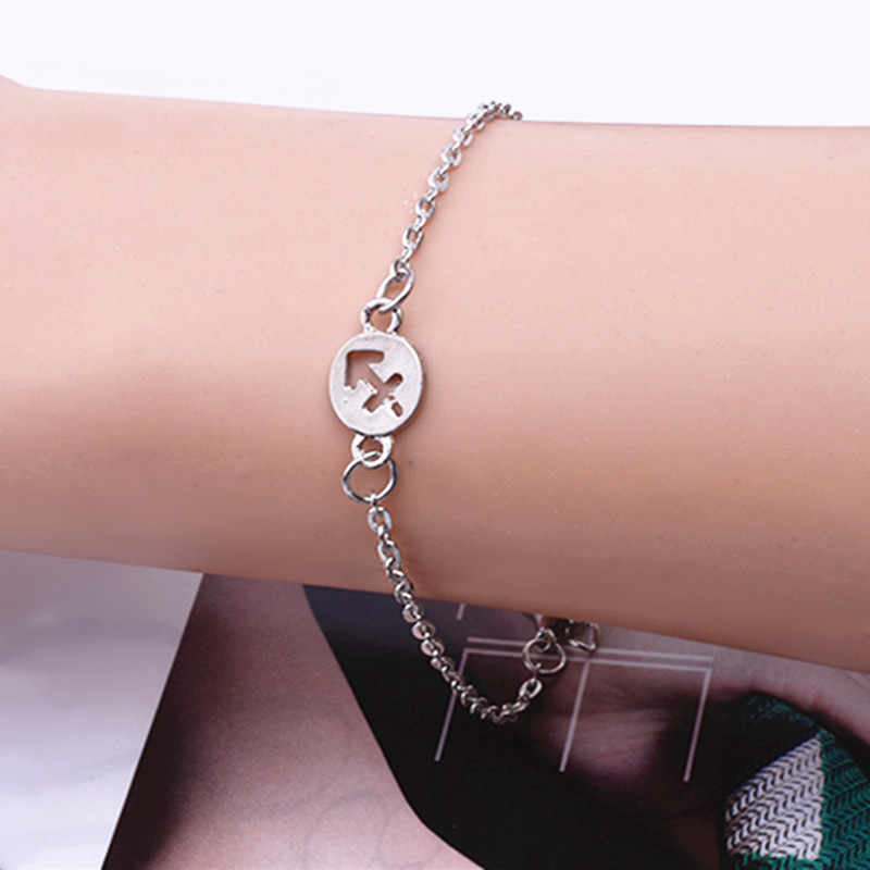 2019 New Fashion Jewelry 12 Constellations Bracelet Alloy Bracelet Men Woman Silver Color Punk  Zodiac Signs Bracelets Gifts