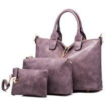 Nueva Moda de Las Mujeres Bolsos de Cuero Messenger Bags Ladies Marca DesignsFamous Bolsas Bolso + Bolso + Messenger Bag 3 Sets