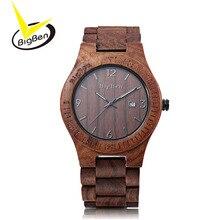2017 BigBen Madera Bewell Marca de Lujo Hombres Reloj Analógico Movimiento de Cuarzo Fecha de Hombre Relojes de pulsera Reloj Relógio masculino Natural