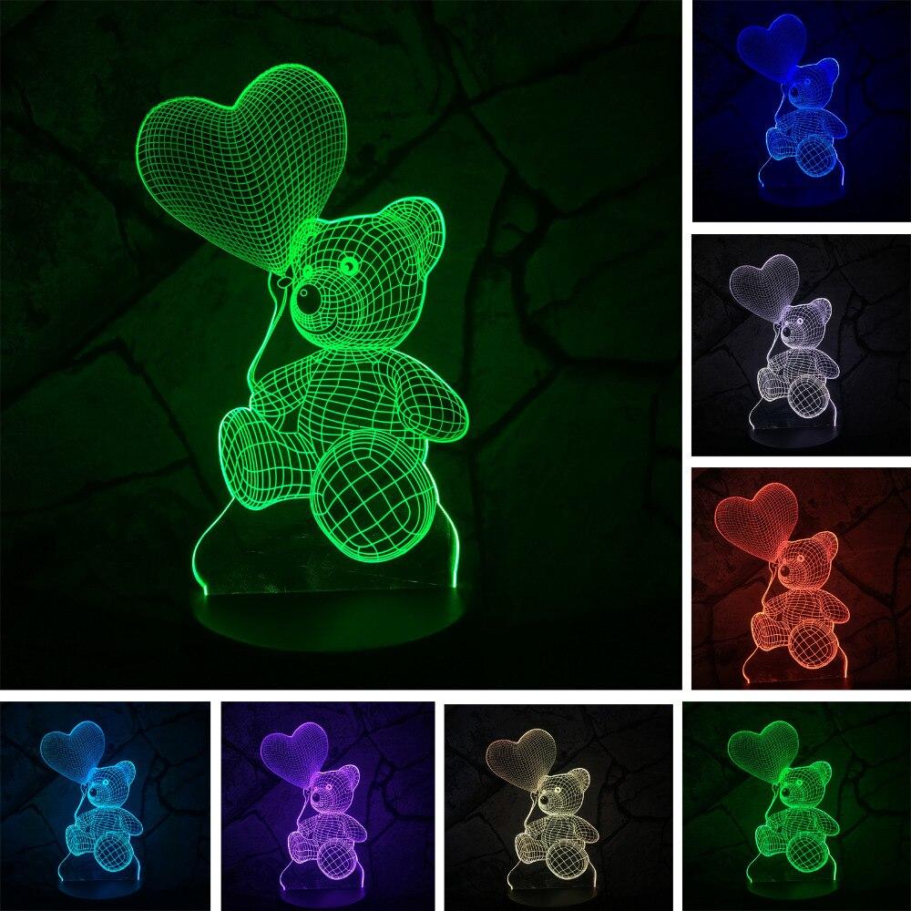 Bébé Enfants Nuit 3D Lampe LED Éclairage Changement de Couleur Du Capteur LED ours Nuit Lumière Coeur Ballon La Maison Chambre Décoration Meilleur Cadeau D'enfant