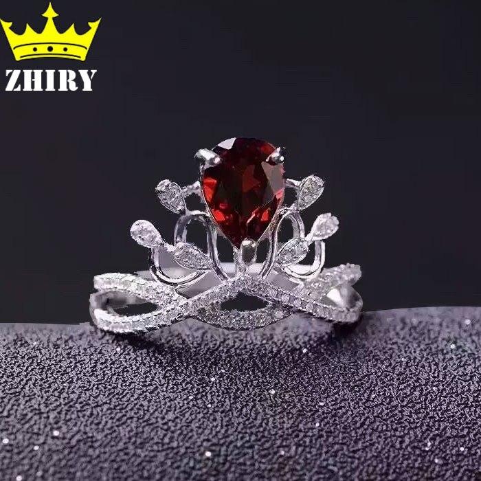 Natural Garnet ring Genuine 925 sterling silver woman gemstone jewelry crown ringsNatural Garnet ring Genuine 925 sterling silver woman gemstone jewelry crown rings