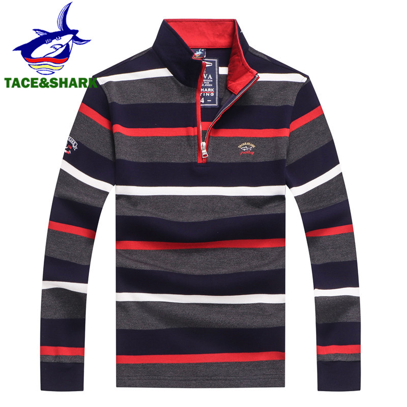 TACE&SHARK Brand Stylish Striped Shark Embroidery M