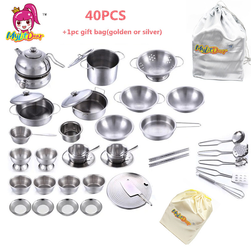 US $25.75 49% OFF|40pcs Stainless Steel Kitchen Cooking Utensils Pots Pans  Food Gift Mini Kitchen Cook Tools Simulation Play House Toys Gift Bag-in ...