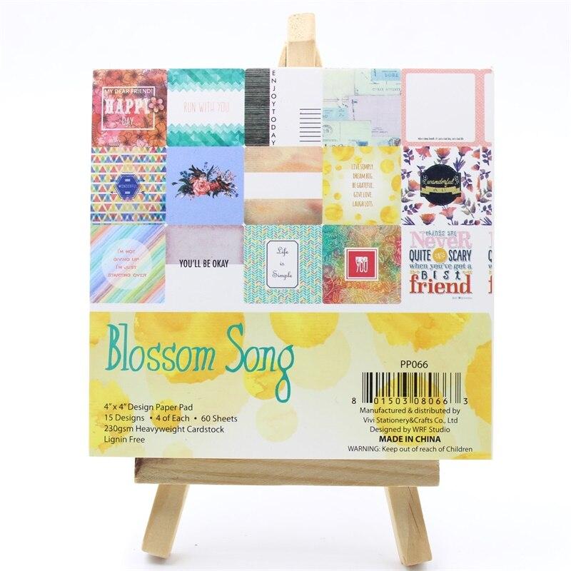 YPP CRAFT 60pcs 4 Single-side Printed Blossom Song pattern creative papercraft art paper handmade scrapbooking kit set book