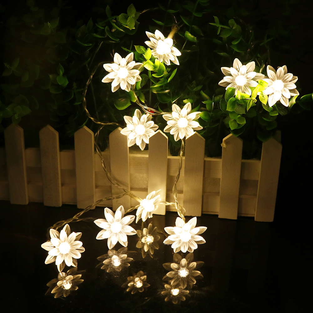 Multi Color Lotus Led String Holiday Lamp 10leds Lantern Powered By Battery Night Light Pathway Graden Christmas Decor New Q