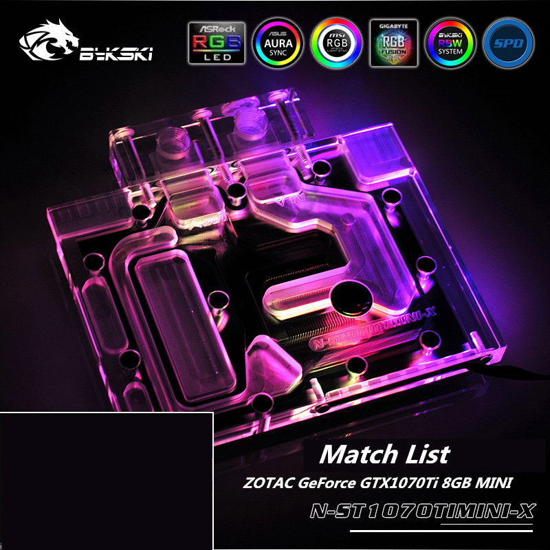 Bykski Full Coverage GPU Water Block For ZOTAC <font><b>GeForce</b></font> <font><b>GTX1070TI</b></font> 8GB MINI Graphics Card N-ST1070TIMINI-X image