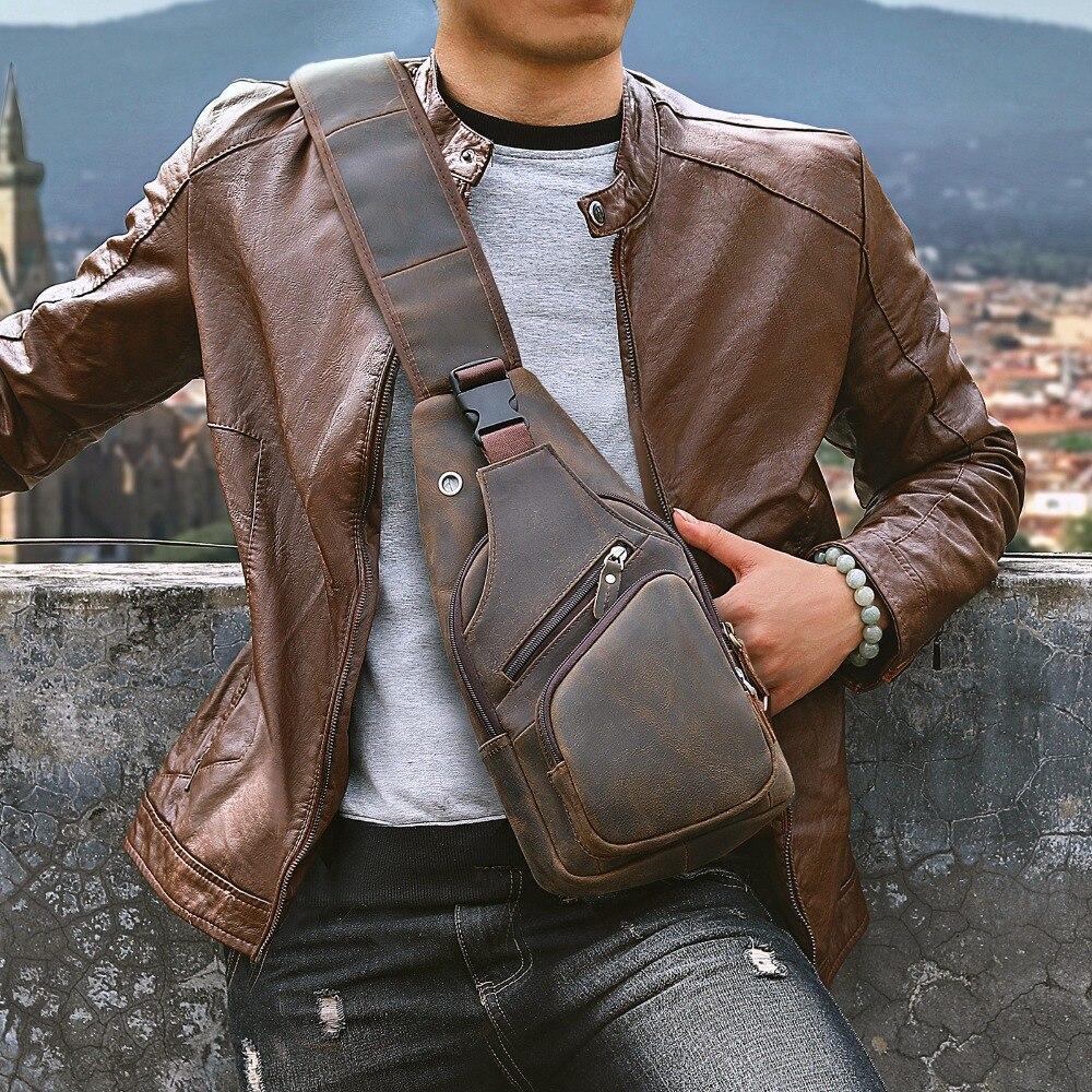 Männer Original Crazy horse Leder Casual Mode Crossbody Brust Sling Tasche Design Reise Schulter Tasche Daypack Männlichen 8015