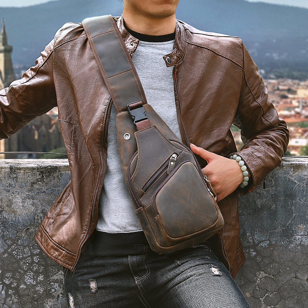 Men Original Crazy Horse Leather Casual Fashion Crossbody Chest Sling Bag Design Travel One Shoulder Bag Daypack Male 8015