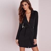Elegant Autumn Women OL Suit jacket single button Lace Up Long Blazer Dress Deep V Neck Dress long sleeves Pencil Woman Suit