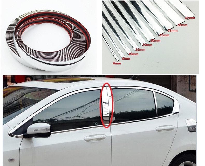 Car Chrome Decor Strip Sticker Silver Auto Styling Trim Strip Interior Exterior Decoration 6mm/8mm/10mm/15mm/20mm/22mm/25mm/30mm