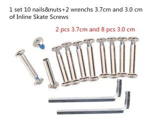 Image 2 - 1 set 10 nails & nuts + 2 wrenchs 3.7 cm e 3.0 cm di Viti Deby Da Skate Inline Roller bulloni Pattini Usura Chiodo A Vite Pattini A Rotelle