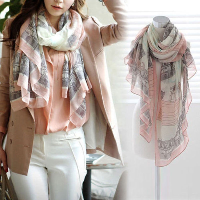 Eiffel Tower Print Europe Style Charming Elegant Long Cotton Neck Scarf Pink Thin Wrap Stole Shawl Casaul Harajuku Hot Sale 2019
