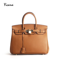 Yicana 2018 Spring/Summer New Style Genuine Leather Woman Fashion Litchi Grain Platinum Handbag M and S size Shoulder bags