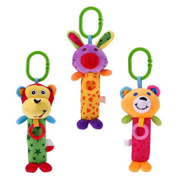 Cartoon Animal Baby Kids Rattle Toys Tinkle Hand Bell Multifunctional Plush Stroller Hanging Rattles Baby Infant Hand Grasp Toy