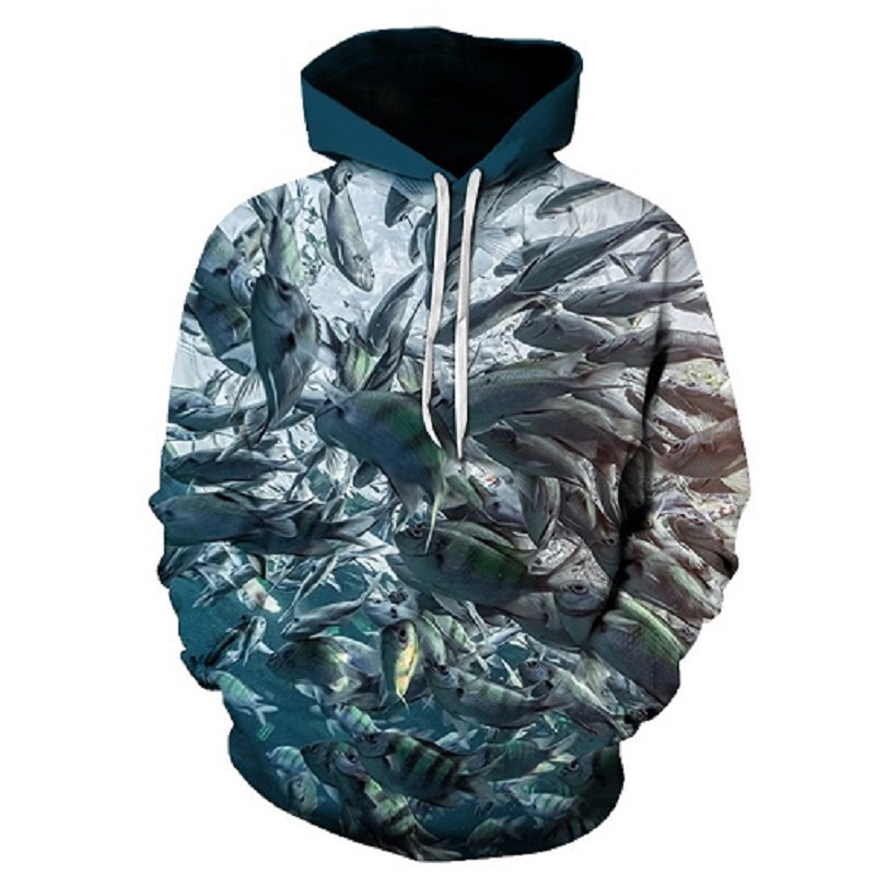 Novelty hoodie fish Sweatshirt men and women long-sleeved autumn and winter casual sportswear printing 3D hoodie Asian size 6xl