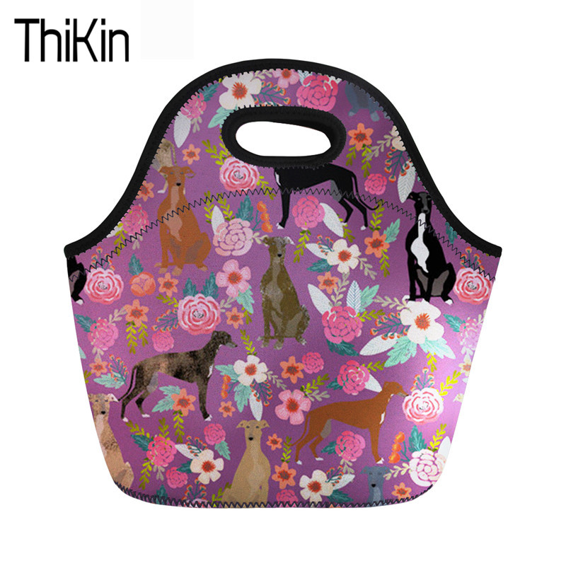 THIKIN Thermal Bag Lunch For Children Girls Labrador Easy Carrying Neoprene Lancheira Kids Cooler Thermal Food Bags Women Totes