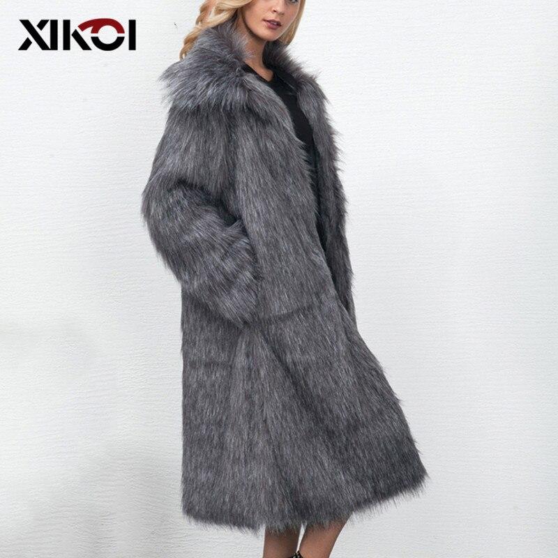Manteau Fausse Femmes De Show Casual Taille Pic brown Fourrure En Xikoi Manteaux Épais gray Plus Longthen Lâche 3xl Vestes white D'hiver As Chaud wAEnqtXg