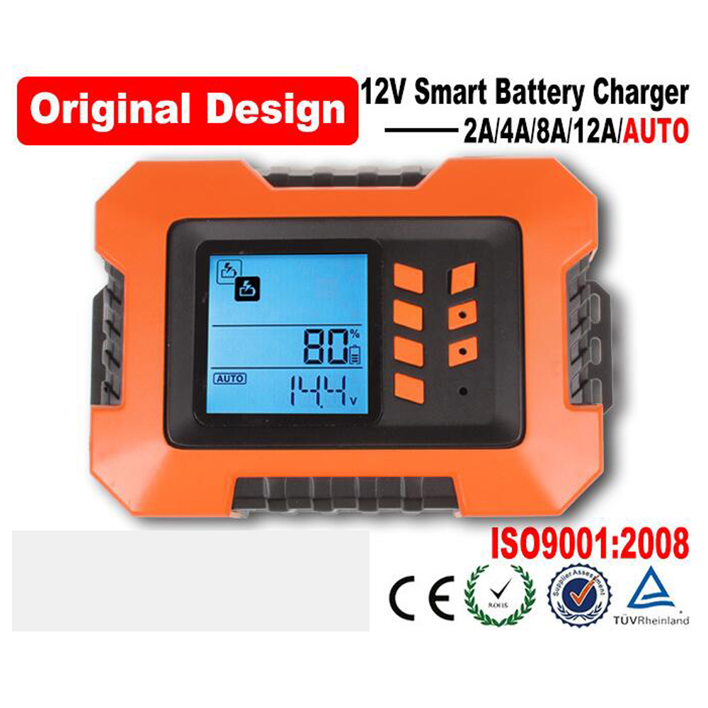 2A / 4A / 8A / 12A high-frequency intelligent digital display car motorcycle battery charger 12V battery Smart charger lcd screen high frequency intelligent caricabatteria 24v 35a battery charger