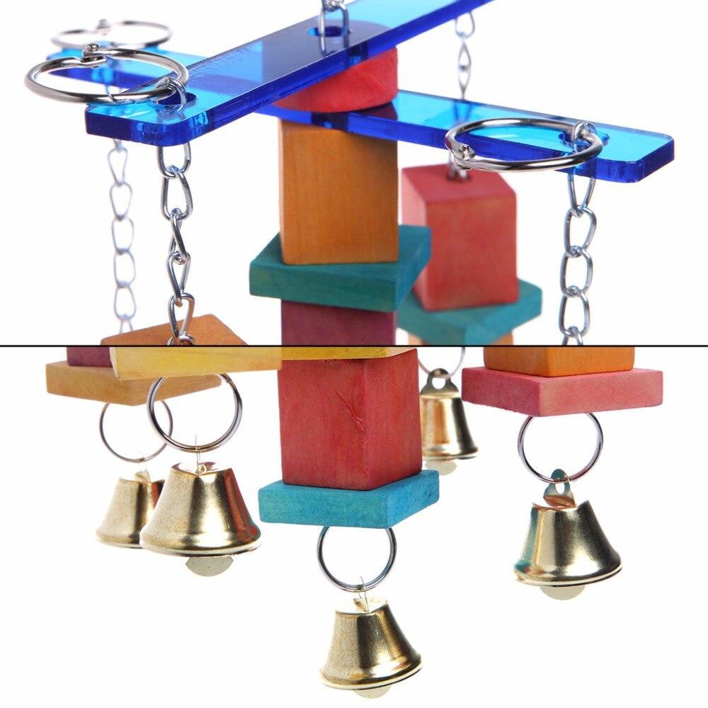 Pet Птица Попугай Cockatiel клетке гамак качели висит, деревянный Игрушечные лошадки