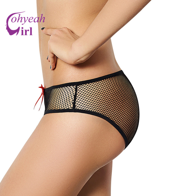 PW5071 Ohyeah Hot sale fishnet sexy   panties   with lace crotch see through plus size underwear erotic women underwear bowknot