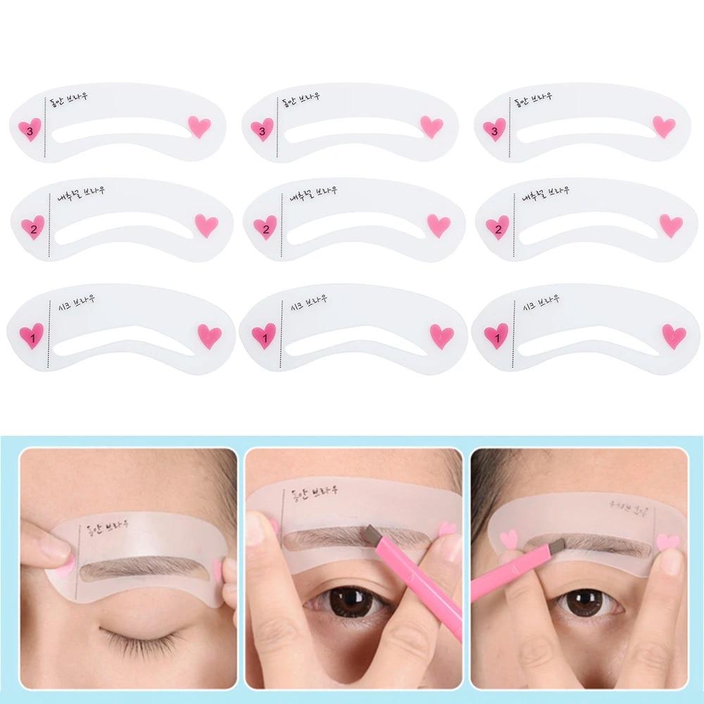 9 Pcs Reusable Eyebrow Stencil Set Drawing Guide Card Eyebrow Template Shaping Tool Diy Shaping Grooming Makeup Tool Eyebrow Stencils Aliexpress