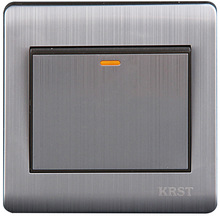 Wall Switch 1 Gang 2 Way 86Type Brushed Stainless Steel Panel 10A AC110-250V