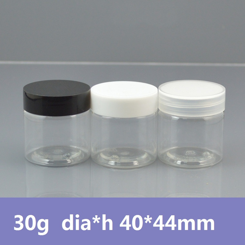 Free Shipping 100pcs/lot 30g Clear Empty Cosmetic Jars Cream Jars Cosmetic packaging Mini Container with PET Lids 12pcs 20g amber glass cream jars cosmetic packaging with lid black plastic caps