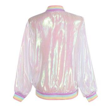 Women Tops Harajuku Summer Laser Rainbow Symphony Hologram Coat Lridescent Transparent Bomber Jacket Sunproof