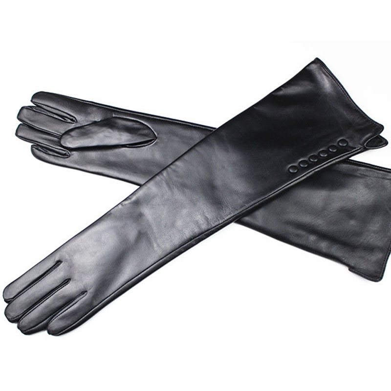 2018 Guantes Long Sheepskin Gloves Female Genuine Leather Over Elbow Length Button Style Velvet Lining Warmer Free Shipping