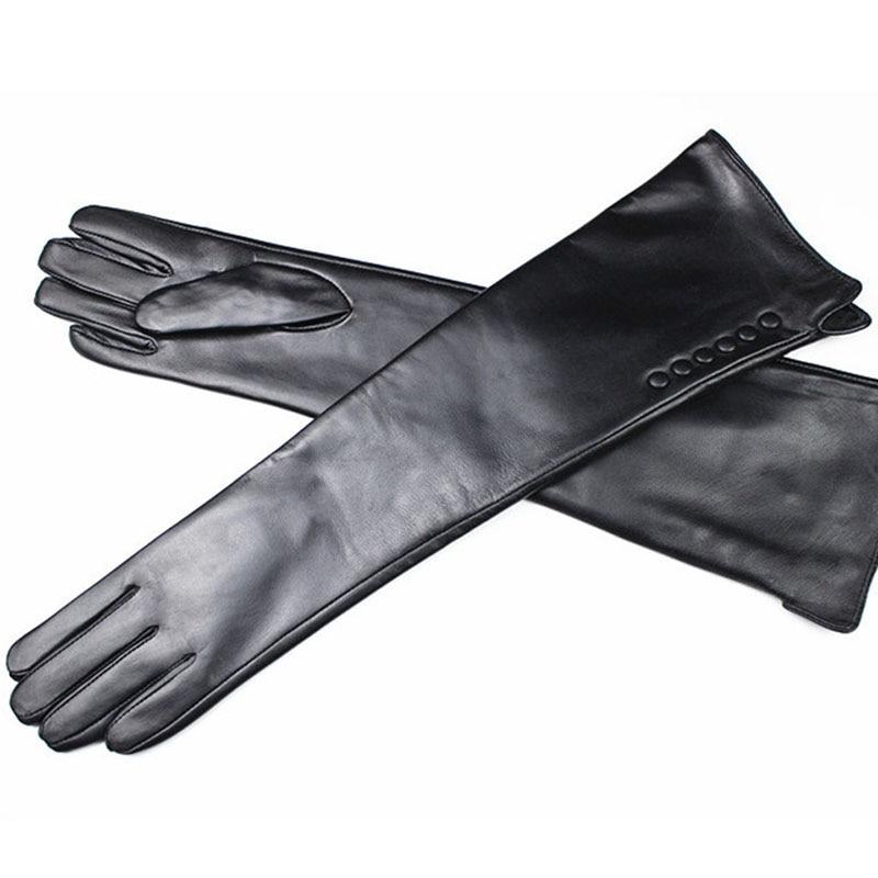 2018 Guantes sarung tangan kulit lembu panjang wanita kulit asli lebih siku panjang gaya butang baldu lapisan hangat penghantaran percuma