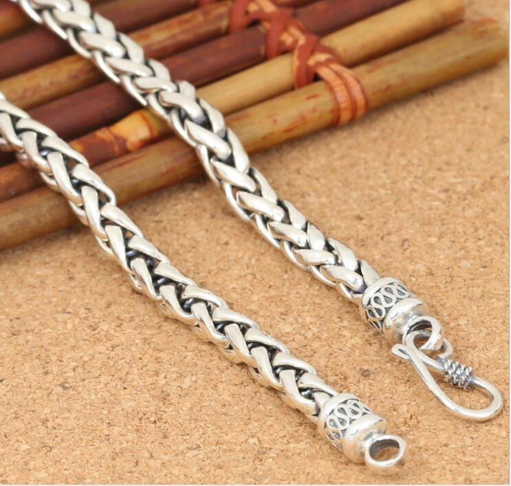 KJJEAXCMY fine jewelry S925 sterling silver jewelry with chain - style, stylish Thai silver men's 6mm hemp rope woven thick neck