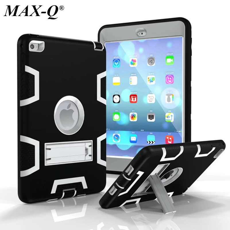 NEW Shockproof Heavy Duty Case For iPad mini 4 Protect Skin Silicon Hybrid Cover Stand PC Case For ipad Mini 4 free Screen film