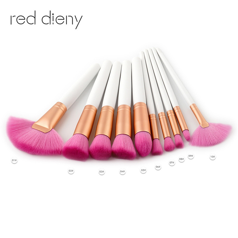 10pcs Makeup Brushes Kit Natural Soft pink Synthetic Hair Bristles Foundation Blush Eyeshadow Cosmetic Brush Make Up Tool