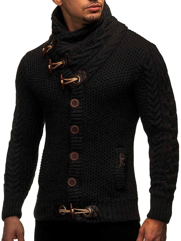 Cardigan Slim Horns Buckle Thick Hedging Turtleneck Men'S Sweater 4